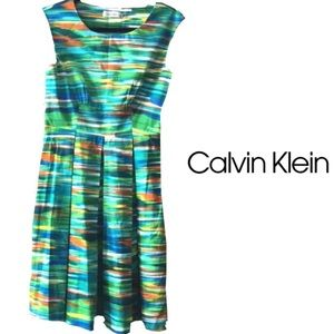 Watercolor Calvin Klein dress with pleats